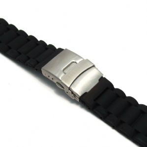 Silicone Deployment Mens Watch Strap Black 22mm 24mm (Style 1) C034